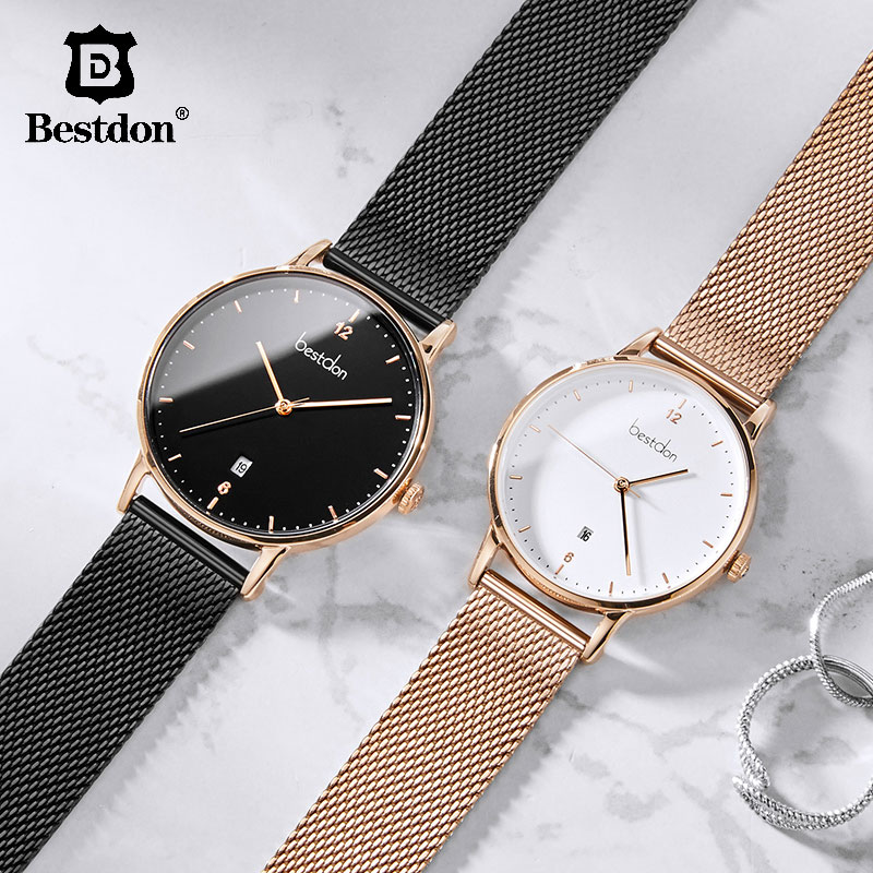Bestdon Luxury Brand Men Watch Fashion Casual Dress Waterproof Women Watches Stainless Steel Quartz Couple Relogio Masculino 201