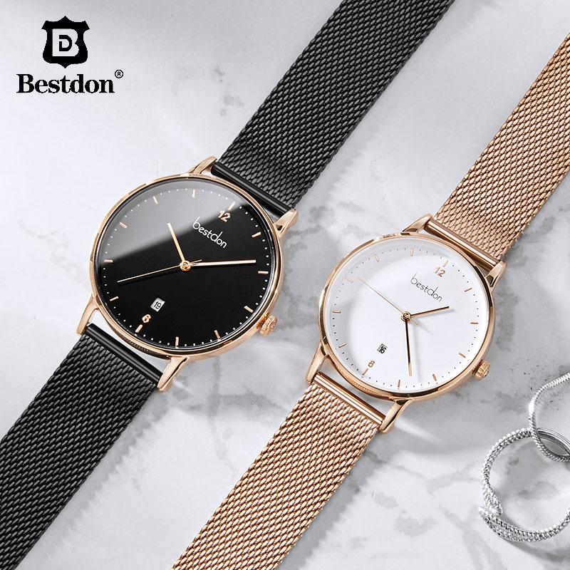 Bestdon Luxury Brand Men Watch Fashion Casual Dress Waterproof Women Watches Stainless Steel Quartz Couple Relogio Masculino 201