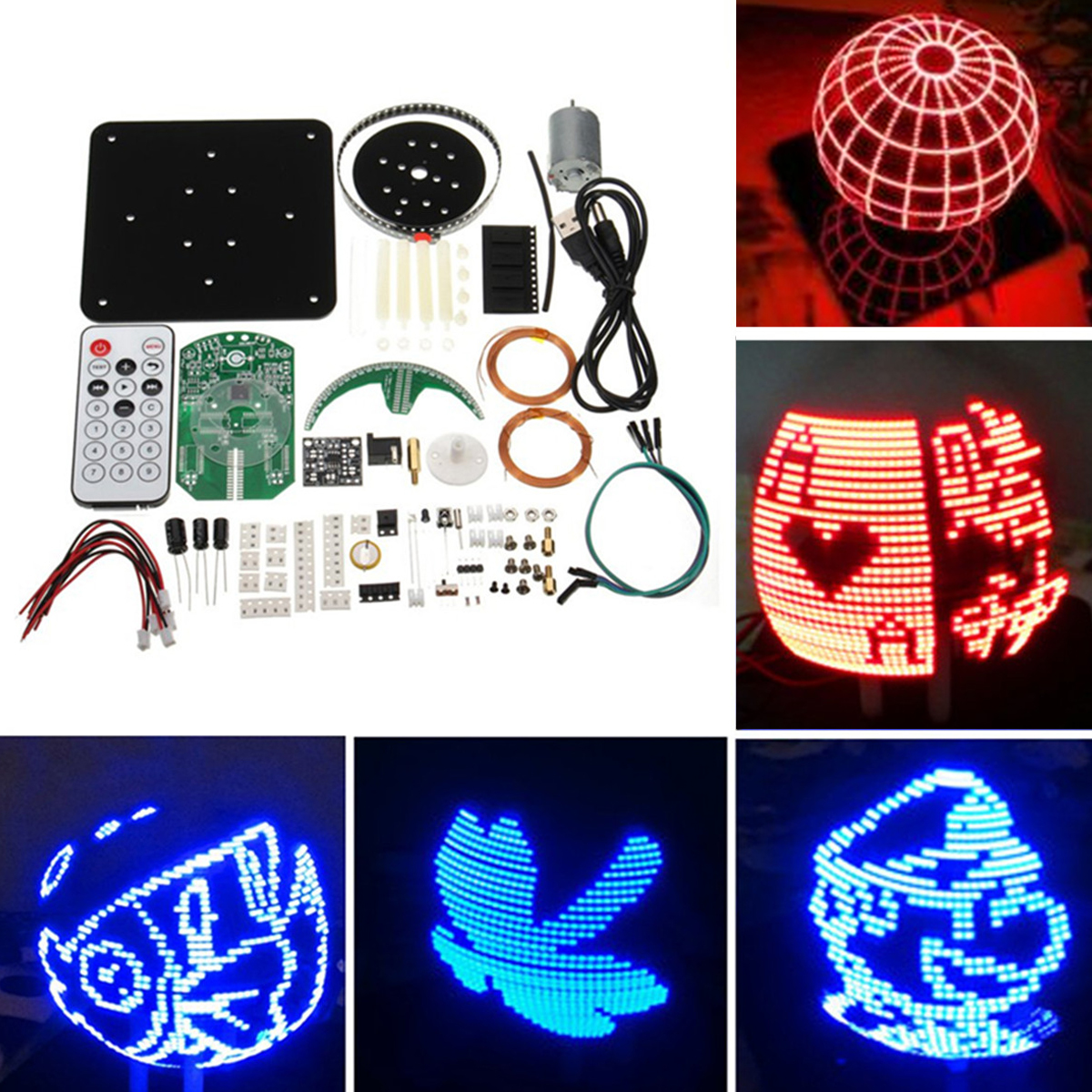 DIY Spherical Rotation LED Kit Lamp POV Welding Training Kit Romantic Rotary Clock Parts Blue and Red Colors ball pov spherical rotary led kit 56 lamp pov rotating clock parts diy electronic welding kit rotating lamp