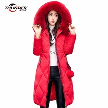 Фотография Womens Winter Down Duck Coat Hooded Parka Wool Collar Long Type Jacket Full Sleeve 2017 Plus Size Feminina HX5