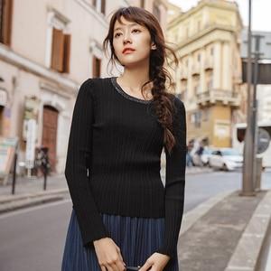 Image 2 - אינמן אביב סתיו עגול צווארון Stripped כושר נשים ארוך שרוול לסרוג סוודר חולצות