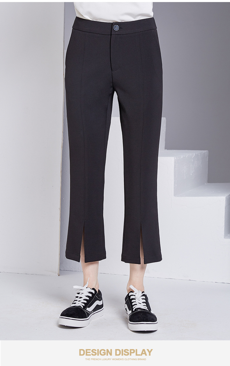 bootyjeans spring 2018 new European high-end women's slim black all-match split ankle length pants casual bottom pants 40