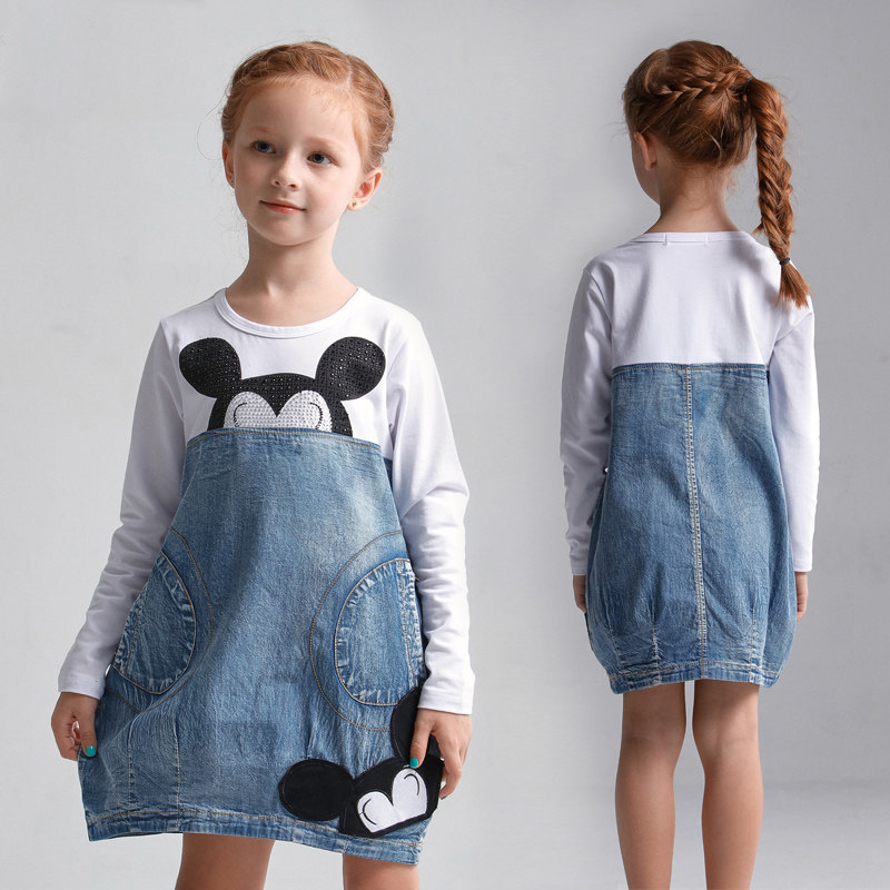 2016 Girls Denim Dresses Summer Clothes for Teens Girls School Kids Clothing for Age 5 6 7 8 9 10 11 12 13 14T Years Old Frocks