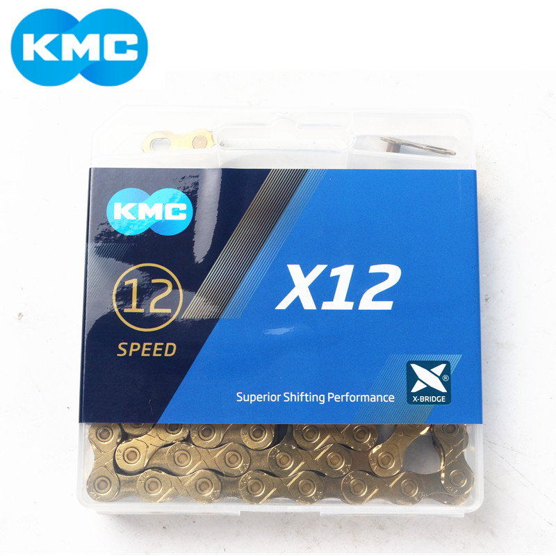 KMC X12 12 Speed 126L MTB Mountain Bike Bicycle Chain 12s GOLD, Black-Gold, Silver