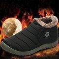 Новая Мода Мужчин Зимние Ботинки Сплошной Цвет Снега Сапоги с Хлопком Противоскользящие Нижней Сохранить Теплые Непромокаемые Лыжные Ботинки, Размер 48