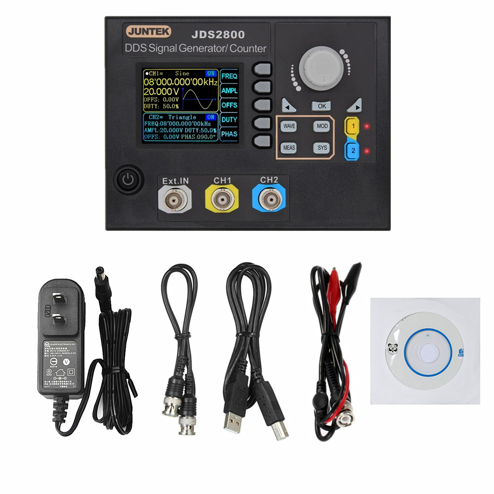 JUNTEK JDS2800-40M 40MHZ Digital Dual-channel DDS Function Signal Generator Arbitrary Frequency Meter Digital Signal GeneratorJUNTEK JDS2800-40M 40MHZ Digital Dual-channel DDS Function Signal Generator Arbitrary Frequency Meter Digital Signal Generator