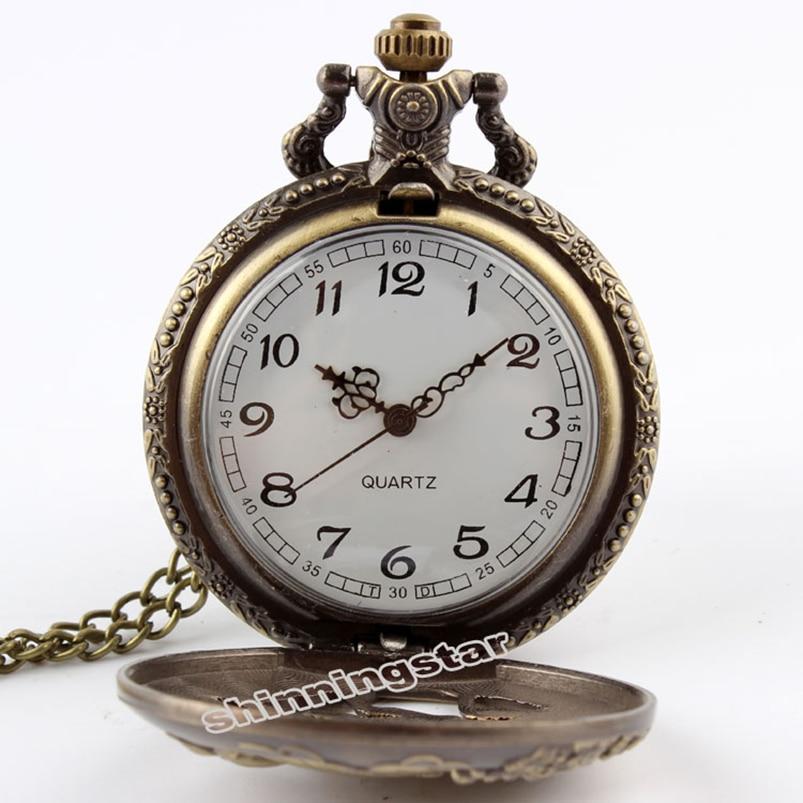 Retro Antique Bronze Zodiac Rabbit Quartz Pocket Watch Hollow Necklace Chain Pendant Vintage Pocket Watches For Wome Men 2017