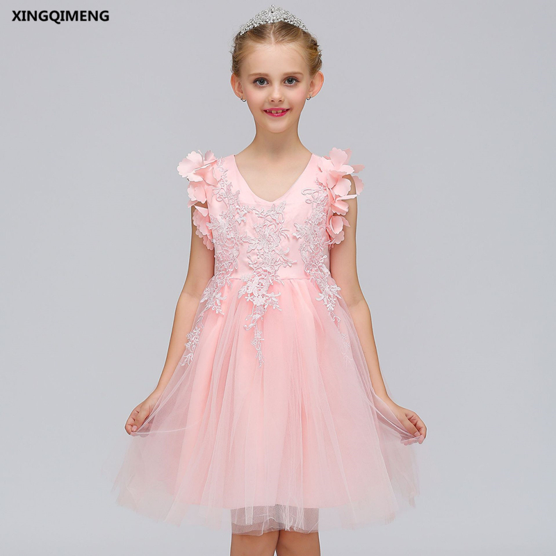 In Stock Lovely Pink Lace Flower Girl Dress for Weddings 3-12Y ...