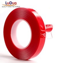 LUDUO 3m Red Double Sided Adhesive Tape High Strength Acrylic Gel Transparent No Traces Sticker for Car Auto Interior Fixed(China)