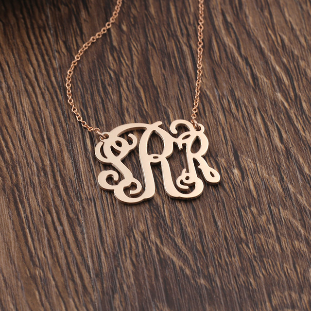 925 silver monogrammed necklace name rose gold color necklaces 925 silver monogrammed necklace name rose gold color necklaces pendants with 3 inital letters name pendant aloadofball Images