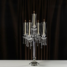 European Style Candle Holders Crystal 5 arms Demountable Hurricane Table Centerpieces Home Decoration Candlestick Holder