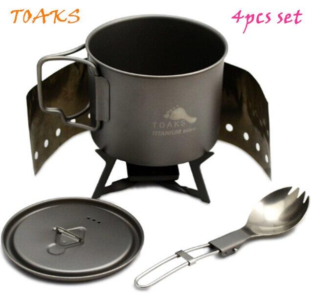 TOAKS titanium cookware 4pcs set for outdoor ultralight pot titanium folding spoon Titanium alcohol stove windscreen 125g nz titanium pot set