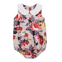 Fashion New Infant Newborn Kids Baby Girls Floral Outfits Peter Pan Collar Lace Sleeveless Brief Romper Playsuit Sweet Clothing