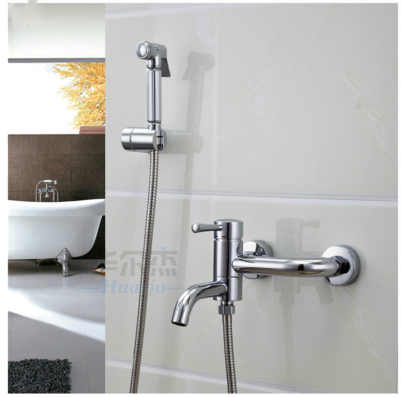 Bidet shower mixer bidet syringe small shower set bidet toilet syringe faucet spray gun belt Cold Hot Water spray + Shower Hose water qinxin anion small spa rain shower hose shower base set white
