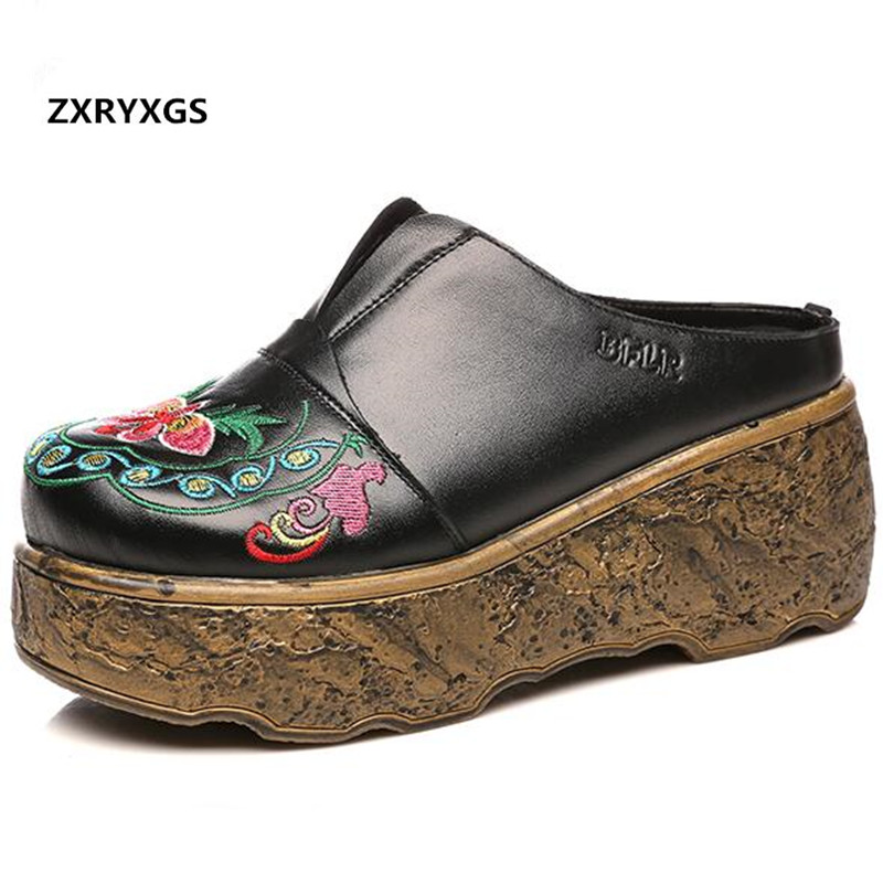 Original Retro Embroidered real Leather Shoes fashion sandals 2019 summer Women Sandals Platform Wedges sandals Women Slippers