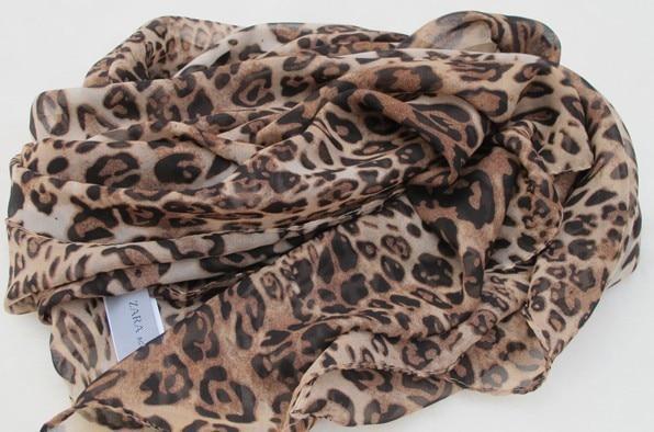 Leopard Print Silk Scarf...