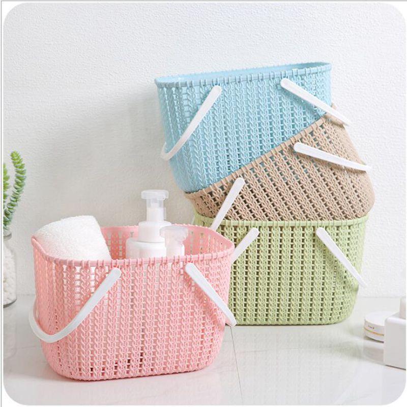 Home Kitchen Bathroom Portable Storage Basket Candy Color Plastic Box Rattan desktop Basket Organizer For Snack Toy-in Storage Baskets from Home & Garden