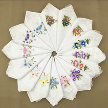 12Pcs/lot Embroidered handkerchief cotton white embroidery lace single side edge fabric
