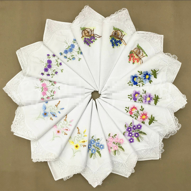 12Pcs/lot Embroidered handkerchief cotton white cotton embroidery lace  single side edge handkerchief cotton handkerchief