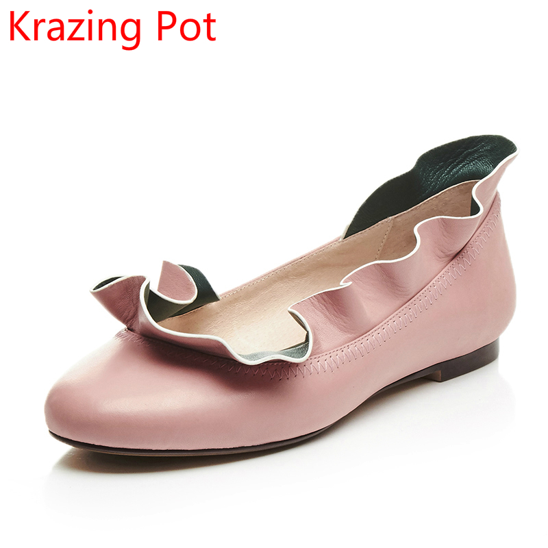 2018 New Arrival Mixed Colors Genuine Leather Lacework Round Toe Flowers Flats Slip on Sweet Brand Spring Women Casual Shoes L66 2017 brand new fashion spring women big head shoes slip on loafers round toe casual shoes flats leather shallow boat shoes xa 87