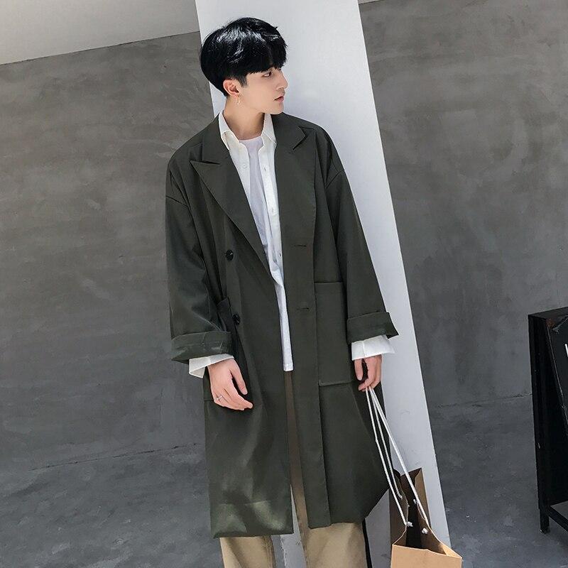 Spring autumn long version of the male Korean version of the ultra-long and loose spring casual coat overcoat. пенал для карандашей korean version of the password box