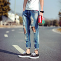 Men's Fashion Jeans!the New 2015 Man Ripped Jeans Nine Points Men's Jeans High-end Men's Brand Of Jeans