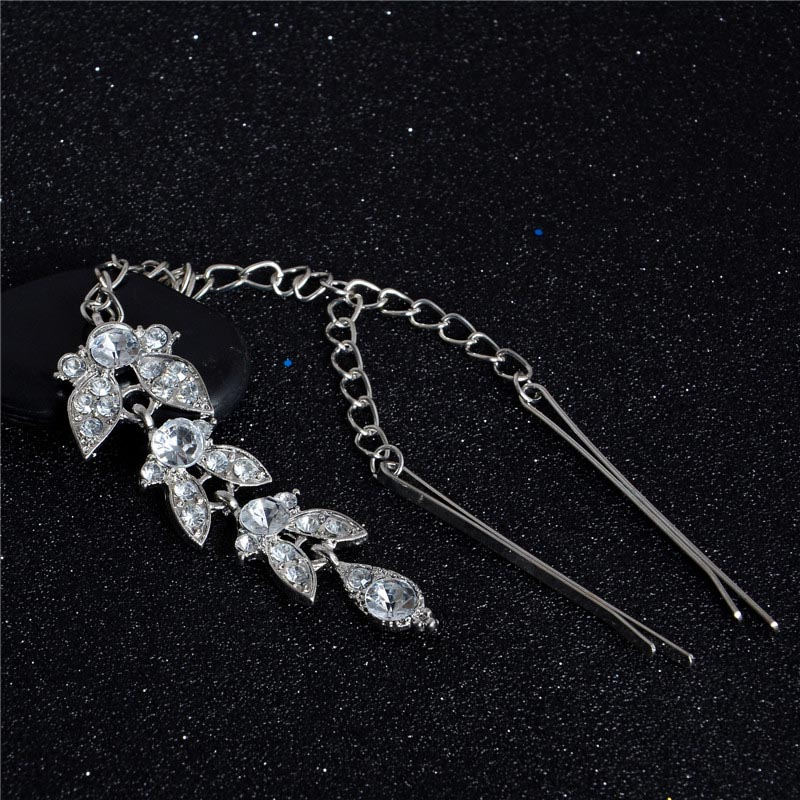H:HYDE Womens Leaf Shape Crystal Rhinestone Pendant Forehead Indian Hair Clip Flower Hair Pins Ethnic Jewelry Accessories