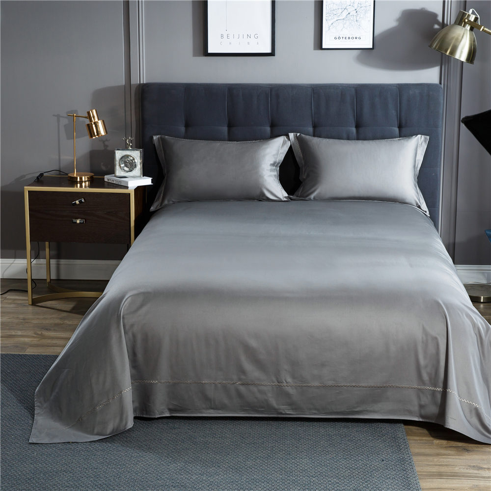 Solid Color Satin Silk Soft Woven Bedding Set Queen Size Bedspread Quilted Bed Cover Sheets Blanket Set