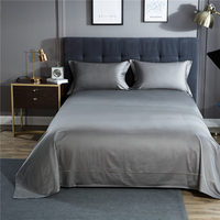 Solid Color Satin Silk Soft Woven Bedding Set Queen Size Bedspread Bed Cover Sheets Blanket Set
