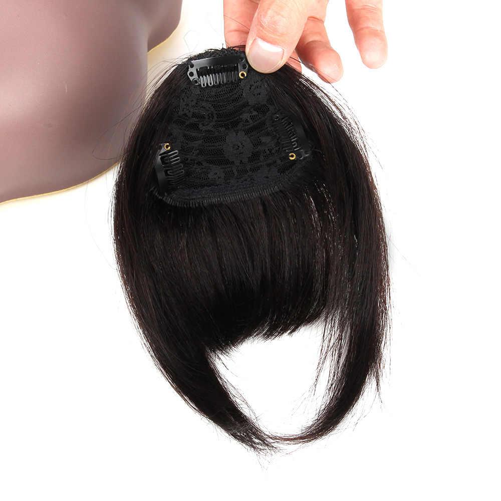 Bybrana Black Straight 3 Clip-In Remy Stompe Pony Met Tempel Vegen Pony Kant Voor Haar Franjes 100% Braziliaanse menselijk Haar