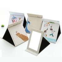 JS Tabletop Portable Foldable Makeup Mirror Cartoon PU Leather Standing Case Women Cosmetics Multi Used Tool