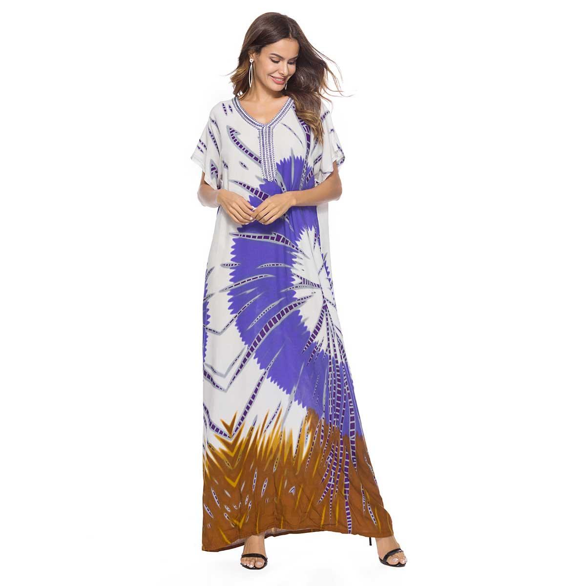 5d770da58f741ea 2019 летнее женское длинное платье с этническим принтом модное городское  мусульманское abaya, большие размеры,