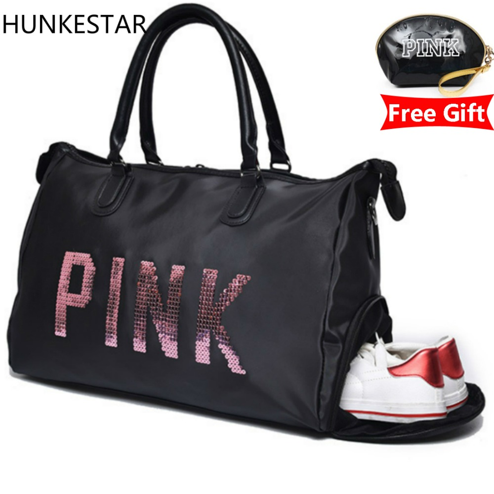 2018 Sequins Black Women Gym Bag Fitness Travel Handbag Outdoor Separate Space For Shoes Sac Sports Women's Bag(China)