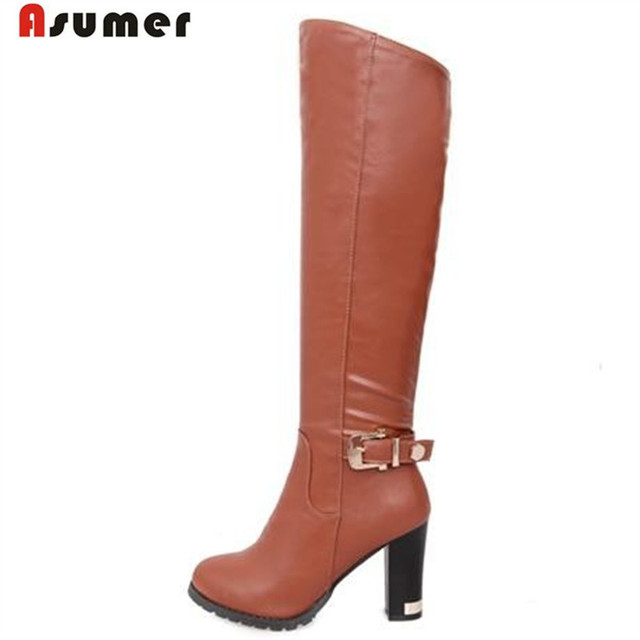 wholesale new winter classic fashion women boots high-heeled knee boot zipper belt buckle knight boots white black brown