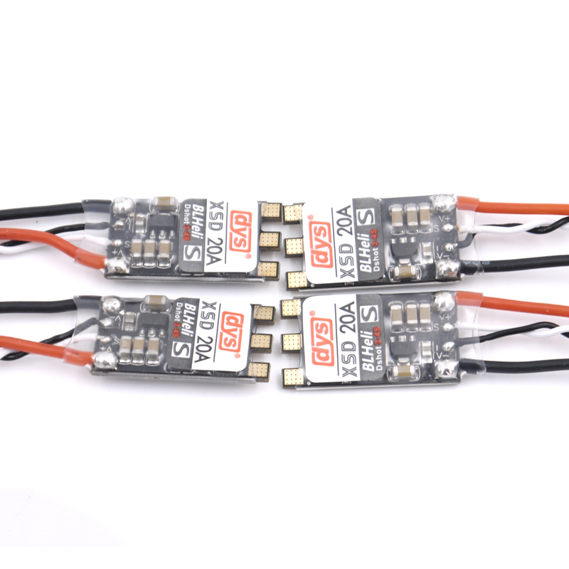 4pcs DYS XSD 20A XSD20A ESC 20A 3-4S BLheli_S Brushless ESC Support Dshot600 Dshot300 for FPV Racing Quadcopter lhi fpv 4x mt2206 2300kv cw ccw fpv brushless motor 2 4s 4 pcs racerstar rs20a lite 20a blheli s bb1 2 4s brushless esc