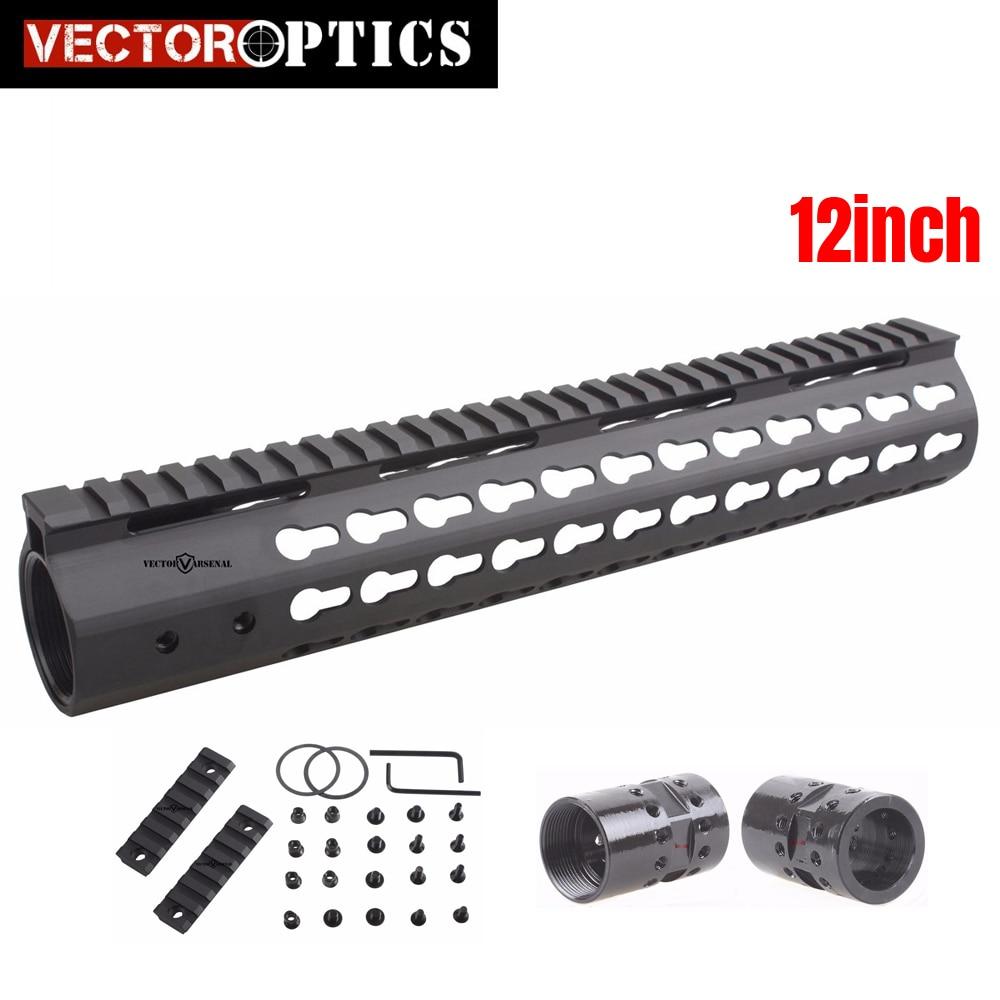 Tactical .308 Slim Free Float KeyMod 12 Inch High Profile Handguard Picatinny Rail Mount Bracket Steel Barrel Nut Fit AR10 308