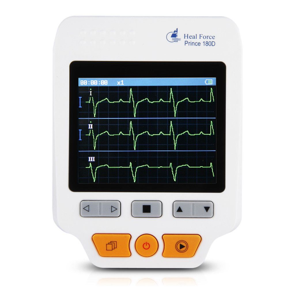 THGS Heal Force ECG Heartrate Monitor 180D Color Electrodes Measurement ECG waveform heal force prince 180b blue color portable heart ecg monitor electrocardiogram contain ecg lead wire