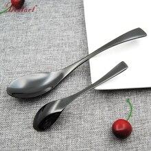 Black Spoon Forks Knife Cutlery Set 18/8 Stainless Steel Dinning Tools Dessert Tea Spoons Salad Forks Steak Knives Dinnerware