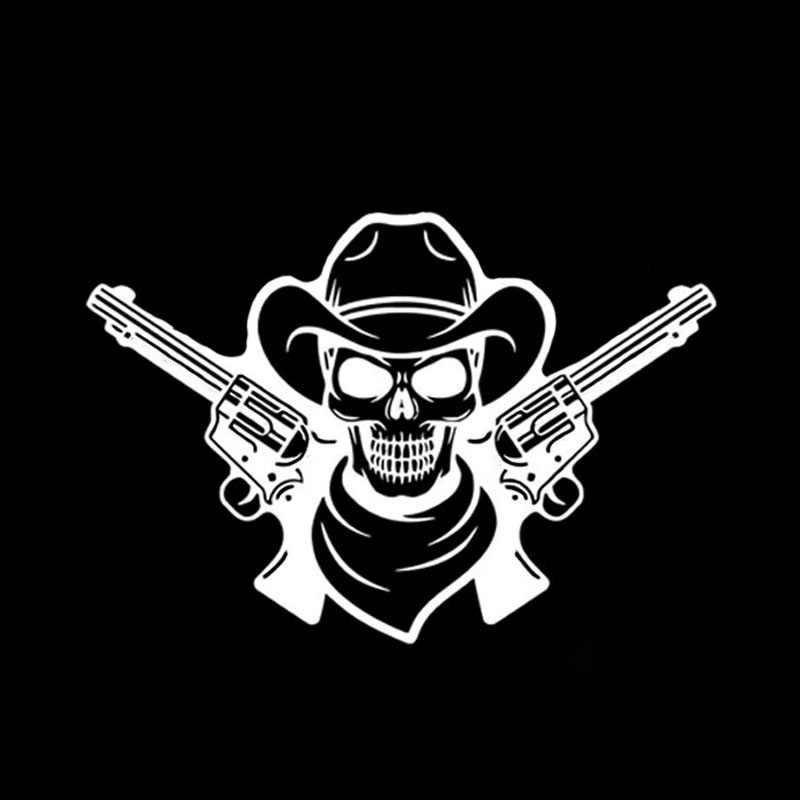 QYPF 17,2*11,8 см крутой Пистолеты и черепа Graphic автомобиля Стикеры черный/Серебряный винил мало Скелет украшения C16-0026