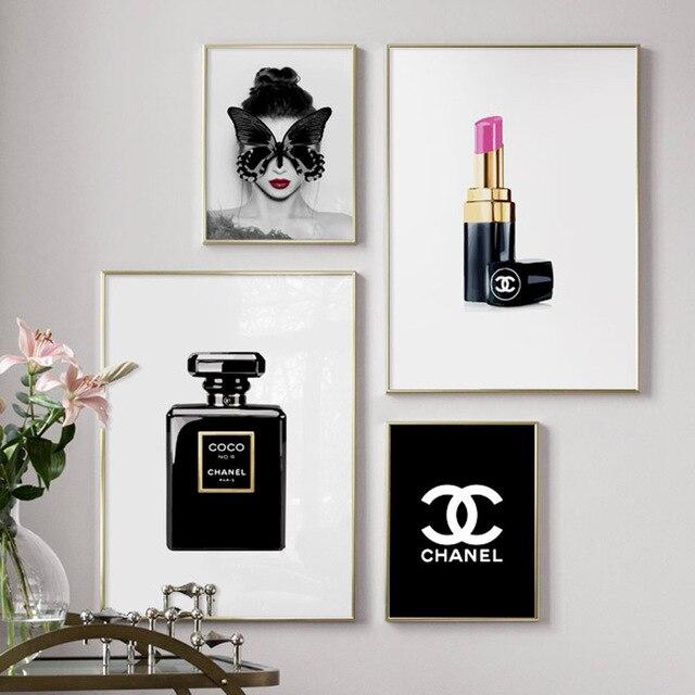 פרפר ילדה שפתון בושם קיר אמנות בד ציור יוקרה נורדי והדפסי קיר תמונות לסלון דקור