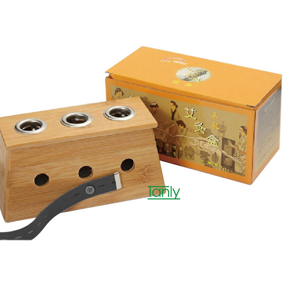 Wholesale & retail good quality three hole bamboo moxa box good quality wholesale