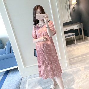 Image 4 - Chiffon Dresses Maternity Clothing For Pregnant Women Short Sleeve V neck Dot Vestidos Pregnancy Dress Maternity Summer Dresses