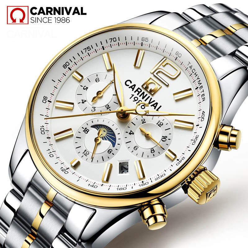 CARNIVAL Mens Watches Top Brand Luxury Automatic Mechanical Watch Men Full Steel Multi function Week Calendar Moon phase Watches|Mechanical Watches| |  - title=
