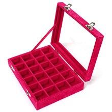 24 Grid Velvet With Glass Jewelry Packaging Boxes For Ring Earrings Colar Jewelry Organizer Storage Joyeros Organizador de joyas