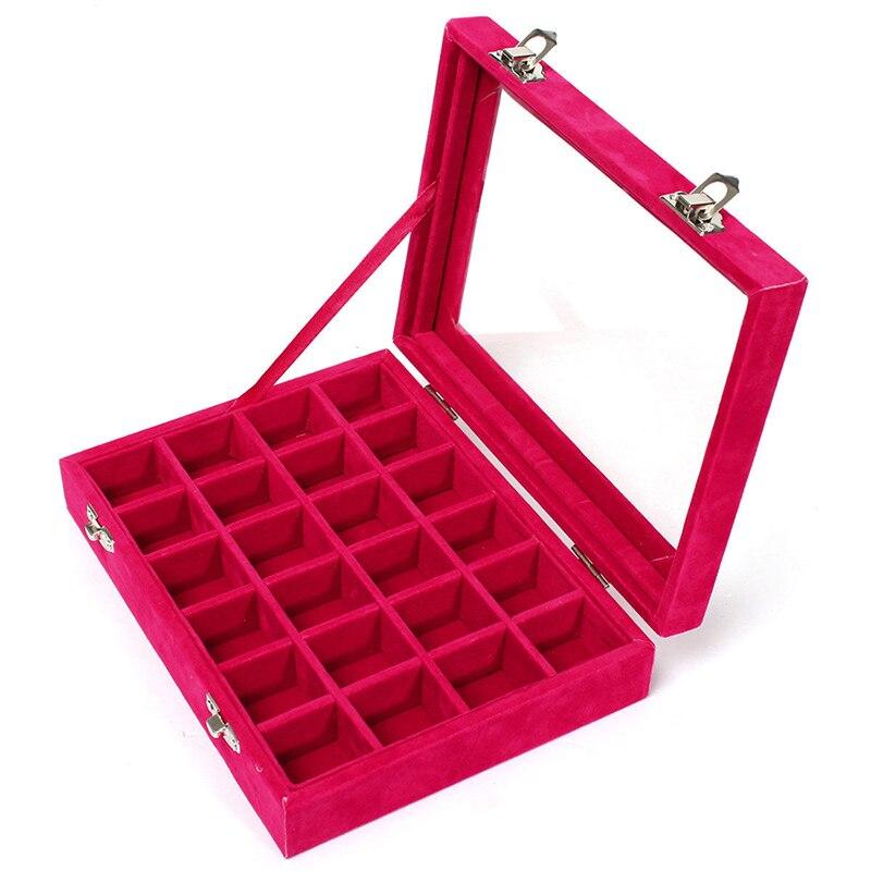 24 cuadrícula de terciopelo con joyas de cristal cajas de embalaje para pendientes de anillo Colar Organizador de joyería almacenamiento Joyeros Organizador de joyas