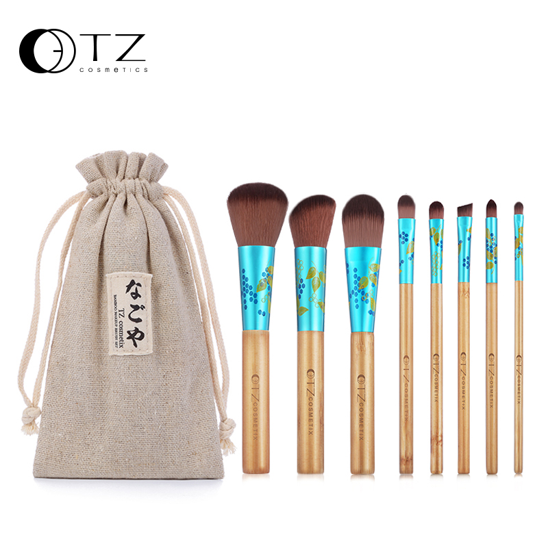 TZ Makeup Brushes Professional 8PCs Makeup Brush Set Soft Hair Make Up Brush Foundation Powder Eye Cosmetic Brush Tool with Bag professional bullet style cosmetic make up foundation soft brush golden white