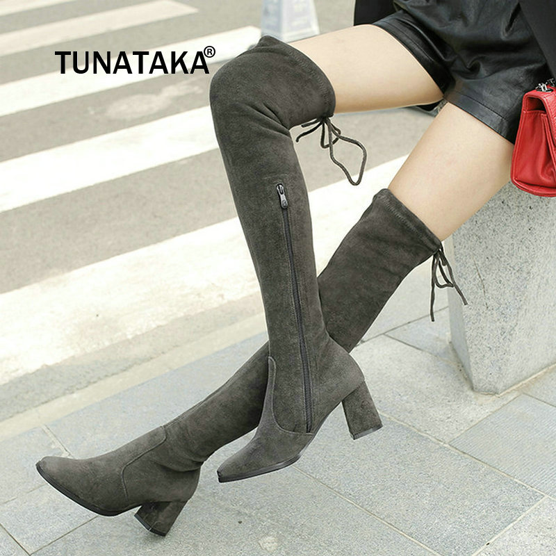 For Lady Suede Side Zipper Over The Knee Boots Comfortable Square Heel Thigh Boots Elastic Boots Black Gray