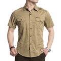 De gran Tamaño M-5XL Alta Calidad 2017 Verano hombres marca casual corto camisa hombre afs jeep 100% de algodón puro de color caqui del ejército camisas tops