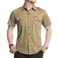 Large Size M-5XL High Quality 2017 Summer men's casual brand short shirt man afs jeep 100% pure cotton khaki shirts army tops