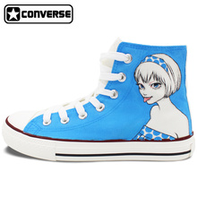 Custom Hand Painted Shoes Cartoon Girl Just My Type Converse All Star High Top Canvas Sneakers Birthday Gifts Men Women